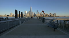 Panoramic 4K view of New York seen from Jersey City Stock Footage