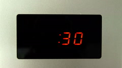 Digital Clock of Microwave Oven Countdown 30 seconds Stock Footage