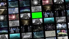 Animated video wall, expanding with green screen 4K Stock Footage