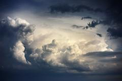 Dramatic sky with stormy clouds before rain Stock Photos