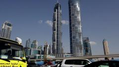 Tracking shot of Skyscrapers from the Highway in Dubai Stock Footage