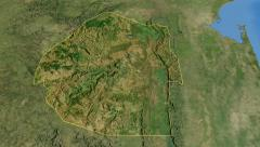 Swaziland, glide over the map, outlined Stock Footage