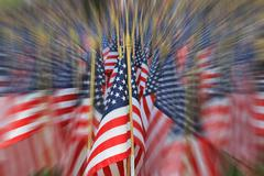 blurred view of field of american flag decorations on Memorial Day - stock photo