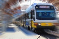 Dallas Area Rapit Transit DART train leaving station - stock photo