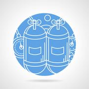 Round blue vector icon for aqualung - stock illustration
