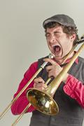 Trombone Musician Yelling Stock Photos