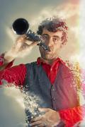 Melting Clarinet Man Stock Illustration