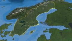 Sweden, glide over the map, outlined Stock Footage