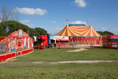 A nice red and yelow circus tent Stock Photos