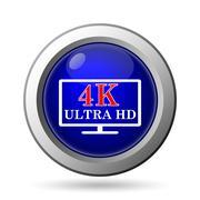 4K ultra HD icon. Internet button on white background.. - stock illustration