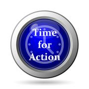 Stock Illustration of Time for action icon. Internet button on white background..