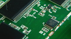 Close up view on computer chip, mainboard, HDD Stock Footage