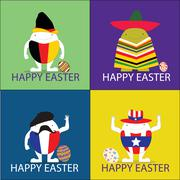 happy easter egg vector illustrator concept - stock illustration