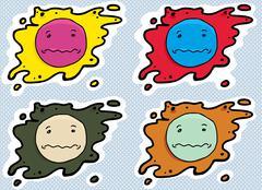 Anxious Face Avatars - stock illustration