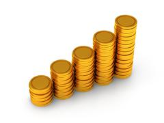 3d schedule of golden coins as stairs on white Stock Illustration