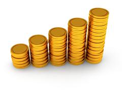 3d schedule of golden coins as stairs on white - stock illustration
