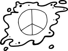Single Outlined Peace Sign - stock illustration