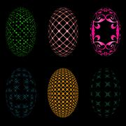 Easter eggs on a black background Stock Illustration