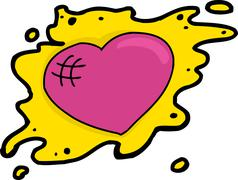 Pink Heart in Yellow Blob - stock illustration