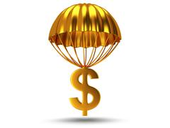 Golden parachute with dollar sign Stock Illustration