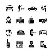 Stock Illustration of Taxi Icons Black