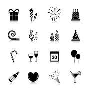 Celebration Icons Black Stock Illustration
