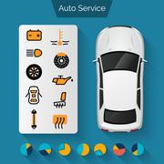Auto Service Infographics - stock illustration