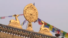 Decoration at the Boudhanath stupa at Kathmandu in Nepal Stock Footage