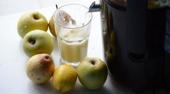 Apple And Pear Juice Squeezed Fresh Stock Footage