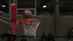 Ball Flies Three Times Into Basketball Baskets Goal Hoop, Scoring In Basketball Stock Footage