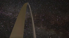 St. Louis Arch Night Time Lapse Stock Footage