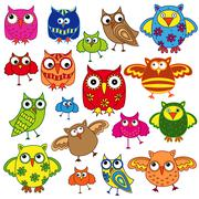 Set of eighty colourful owls - stock illustration