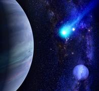 Stock Illustration of Galaxy background with planet and comet