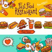 Fast Food Banners - stock illustration