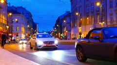 Traffic pass by in Budapest at night - stock footage
