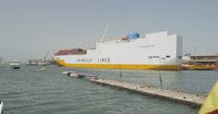 Cargo Ship at the Autonomous Port of Dakar, Senegal (4K) - stock footage