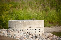 Stormwater Management System - Perforated Concrete Pipe - stock photo