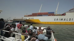 Ferry in the Autonomous Port of Dakar, Senegal Stock Footage
