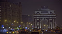 Moscow city Triumphal arch Stock Footage
