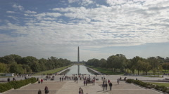 4K Time lapse zoom out crowd at Washington Monument - stock footage
