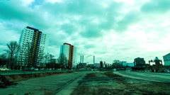 Timelapse of a storm arising over modern Architecture in Berlin - stock footage