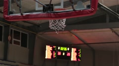 Ball Flies Into Basketball Baskets Goal Hoop, Slam Dunk Scoreboards In Backgroun Stock Footage