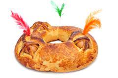 A traditional mona de pascua typical in Spain, a cake with boiled eggs eaten Stock Photos
