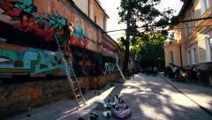 Graffiti art festival time lapse - stock footage