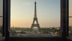 Eiffel tower night to day timelapse  window 4k Arkistovideo