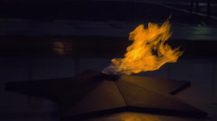 The eternal flame on Poklonnaya hill in Moscow Stock Footage