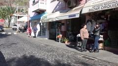 4k Ribeira Brava shopping street scene Madeira Stock Footage