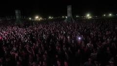 Open air crowd fans on concert rock star band Prodigy, KUBANA MUSIC FESTIVAL Stock Footage