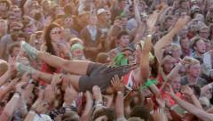 Teen fan cheering dance open air concert rock star group KUBANA MUSIC FESTIVAL Stock Footage