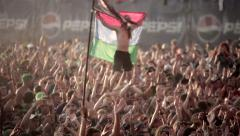 Teen fan cheering dance open air concert rock star group KUBANA MUSIC FESTIVAL - stock footage